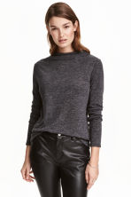 Turtleneck top - Dark grey marl - Ladies | H&M 1