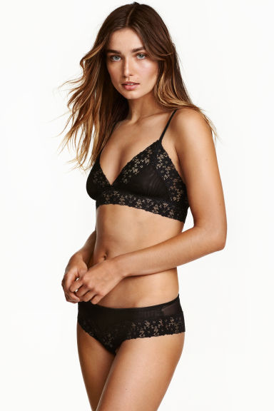 Mesh and lace hipster briefs - Black - Ladies | H&M CN 1