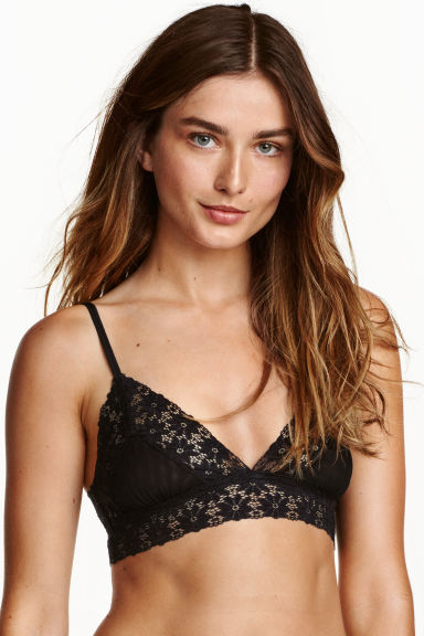 Bralette in pizzo e tulle - Nero - DONNA | H&M IT 1