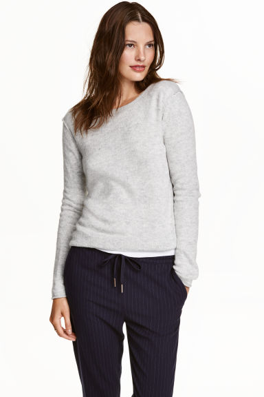 Fine-knit jumper - Light grey marl -  | H&M CN 1