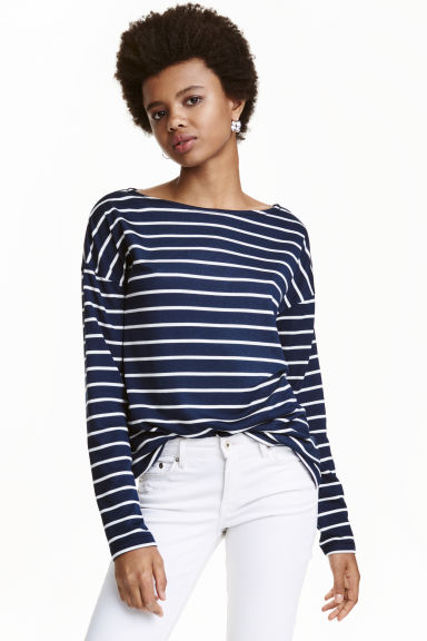 Long-sleeved jersey top - Dark blue/Striped - Ladies | H&M CN 1