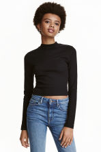Short polo-neck top - Black - Ladies | H&M GB 1