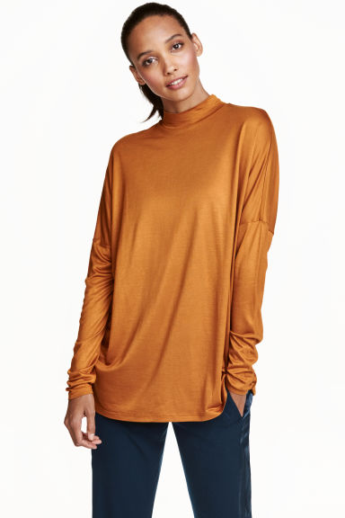 Turtleneck top in jersey - Orange - Ladies | H&M CN