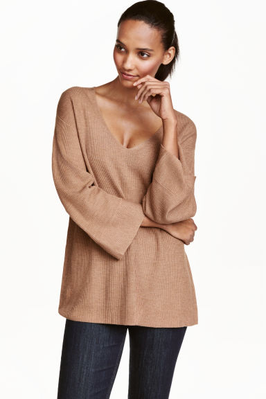 Knitted jumper - Beige marl - Ladies | H&M CN 1