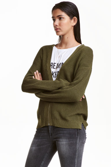 Knitted cardigan - Khaki green -  | H&M CN 1