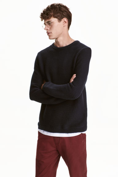 Ribbed jumper - Dark blue - Men | H&M CN 1