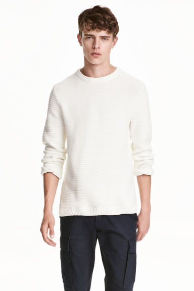 Ribbed jumper - White - Men | H&M CN 1