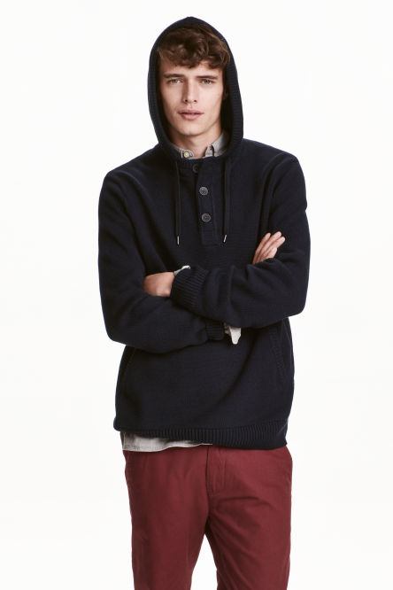 Knitted hooded jumper
