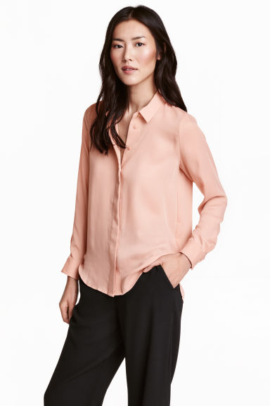 Long-sleeved blouse - Powder - Ladies | H&M CN