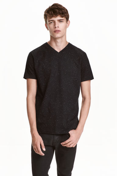 Nepped V-neck T-shirt - Black marl -  | H&M CN