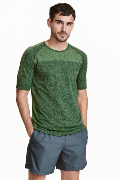 Seamless running top - Neon green marl - Men | H&M CA