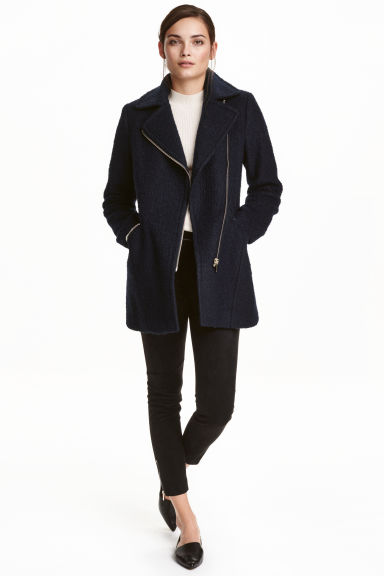 Wool-blend coat - Dark blue - Ladies | H&M CN 1