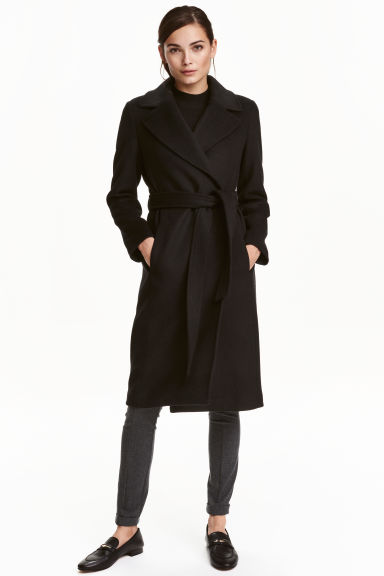 Wool-blend coat - Black - Ladies | H&M CN 1