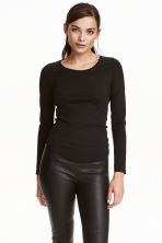 Top in pima cotton - Black - Ladies | H&M CN 1