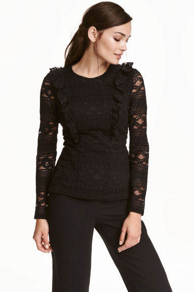 Flounced lace top - Black - Ladies | H&M CN 1