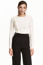 Frilled top - Natural white - Ladies | H&M CN 1