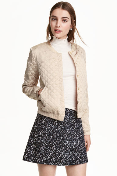 Quilted jacket with embroidery - Beige/Gold - Ladies | H&M CN 1