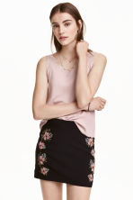 Vest top with scalloped edges - Powder pink - Ladies | H&M CN 1
