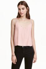 Embroidered strappy top - Powder pink - Ladies | H&M CN 1