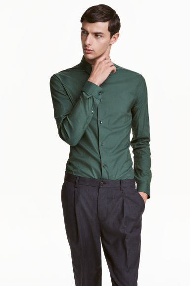Stretch shirt Slim fit - Dark green - Men | H&M