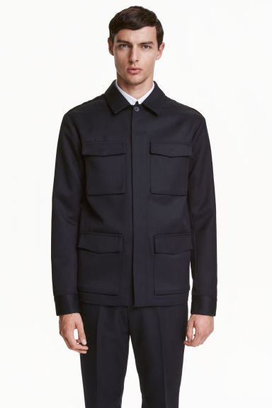Wool-blend utility jacket - Dark blue - Men | H&M CN 1