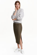 Ribbed skirt - Khaki green - Ladies | H&M CN 1