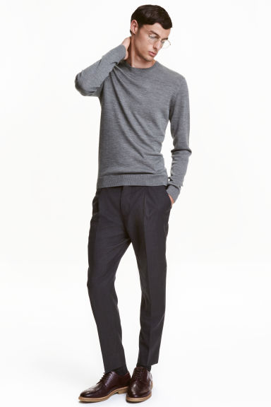 Wool suit trousers Relaxed fit - Dark grey marl - Men | H&M CN 1
