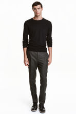 Pantaloni in lana Slim fit - Nero mélange - UOMO | H&M IT 1