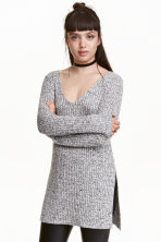 Knitted jumper with side slits - Black marl - Ladies | H&M CN 1