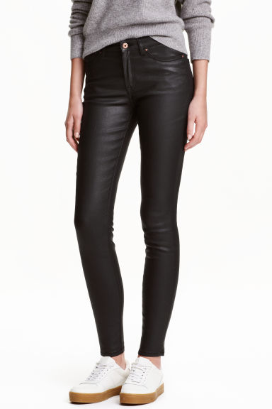 Coated lyocell-blend trousers - Black - Ladies | H&M CN