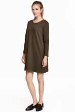 Jersey dress - Dark Khaki - Ladies | H&M CN 1