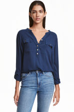 V-neck blouse - Dark blue - Ladies | H&M CN 1