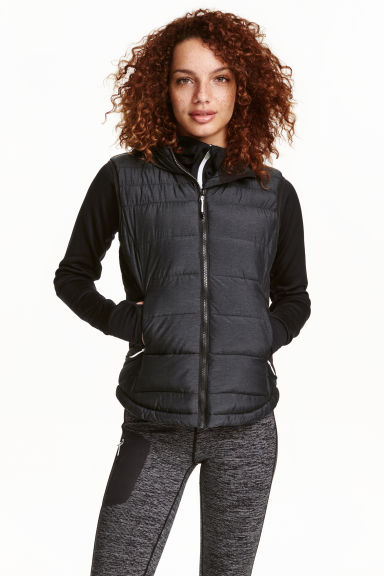 Padded gilet with a hood - Black marl - Ladies | H&M CN 1