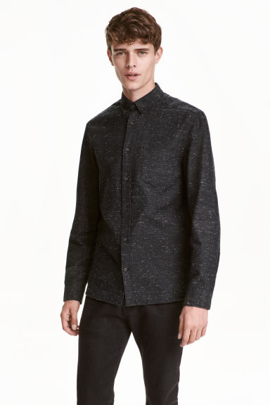棉質襯衫 - Black marl -  | H&M