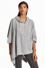 Poncho with a hood - Grey marl - Ladies | H&M CN 1