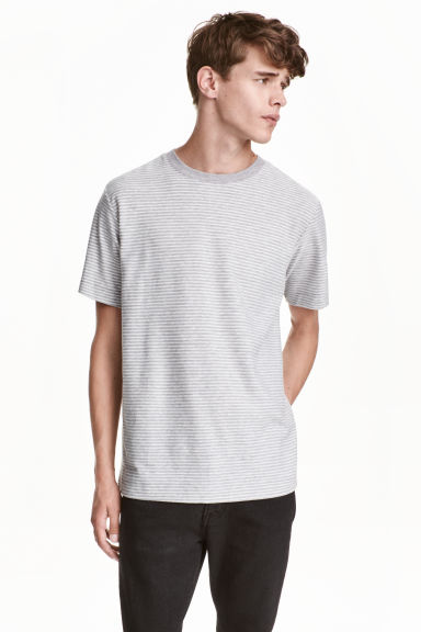 Striped linen-blend T-shirt - Light grey/White - Men | H&M CN 1