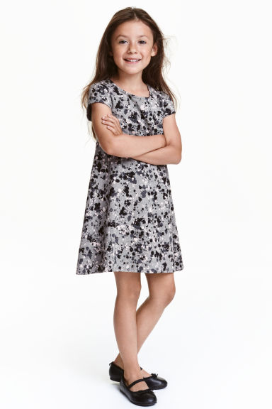 Patterned dress - Grey/Black - Kids | H&M CN 1