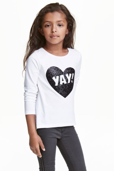 Jersey top with a motif - White - Kids | H&M CN 1