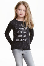 Top in jersey con stampa - Nero mélange - BAMBINO | H&M IT 1