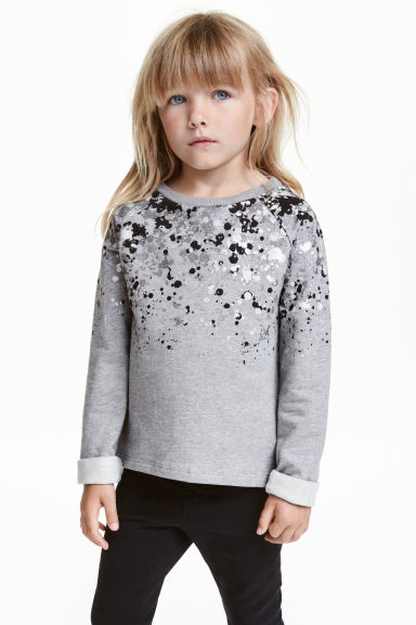 Printed sweatshirt - Grey/Glitter - Kids | H&M CN 1