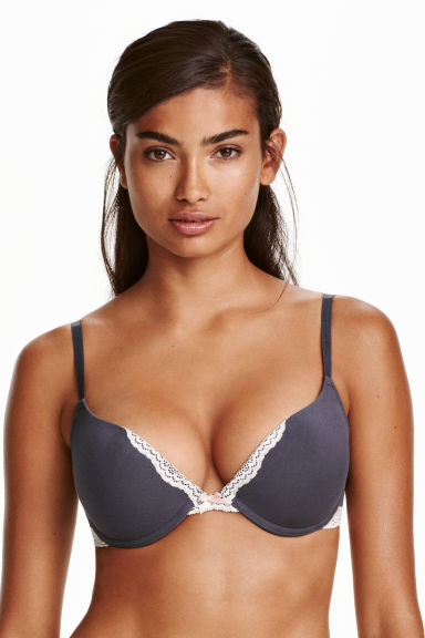2-pack push-up bras - Dark grey/Black - Ladies | H&M CN 1