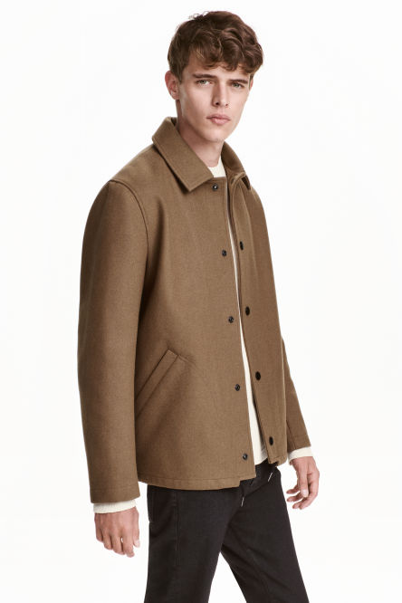 Wool-blend coach jacket