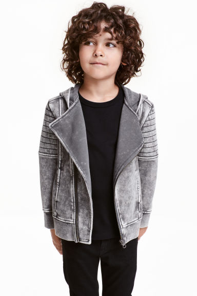 Biker-style hooded jacket - Grey washed out - Kids | H&M CN 1