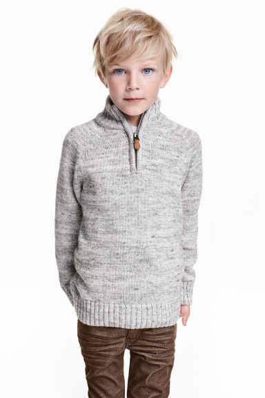 Knitted cotton jumper - Grey marl -  | H&M CN 1