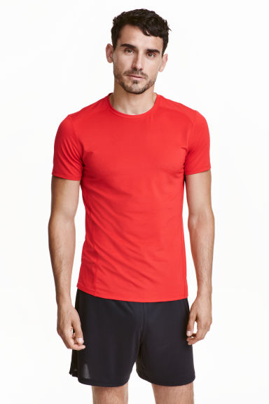Short-sleeved sports top - Red - Men | H&M CN 1