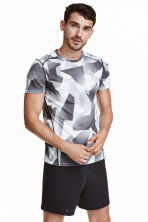 Short-sleeved sports top - Grey/Patterned - Men | H&M CN 1