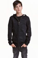 Knitted hooded jacket - Black marl -  | H&M CN 1