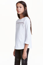 Jersey top with lace - White - Kids | H&M CN 1