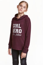 Knitted hooded top  - Burgundy - Kids | H&M CN 1