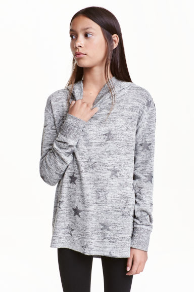 Knitted hooded top  - Grey marl/Stars - Kids | H&M CN 1